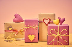 Love hearts, Valentines Day. Handcraft gift boxes Stock Images