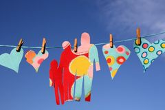Love hearts on washing line Royalty Free Stock Photography