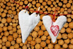 Love hearts on washing line Royalty Free Stock Photo