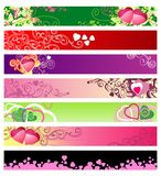 Love & hearts website banners / vector / set #1 Royalty Free Stock Photography