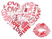 LOVE/Hearts y besos Imágenes de archivo libres de regalías