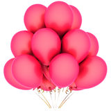 Love helium balloons. Pink helium balloons. Romantic Love concept. Valentine's day greetings. This is a detailed 3D render (Hi-Res). Isolated on white background Stock Images