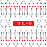 Love is here card with cupid's arrows. Abstract arrows with red hearts illustration. Arrows background for Valentine's Day. Vector design for posters, t-shirts Royalty Free Stock Images