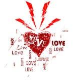 Love hits like lightning. Grunge style illustration. Editable vector art Royalty Free Stock Image