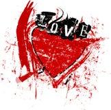 Love symbol,abstract heart, vector format free copy space. Love symbol, an abstract heart with the word love, super grunge style vector illustartion, free copy stock illustration