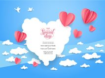 Love holiday card. Wedding consept card. Paper cut and craft style. Vector love illustration Royalty Free Stock Image