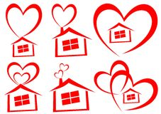 Love home. Illustration of love home design isolated on white background Stock Photos