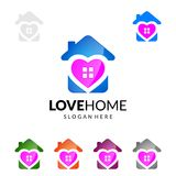 Love Home,  Real estate vector logo Design with Unique Home. Real estate vector logo Design template Stock Image