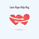 LOVE-HOPE-HELP-HUG Vektorlogo-Designschablone Hilfs- u. Liebesikone W stockfotos