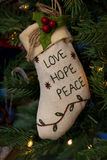 Love,Hope and Peace Stocking Royalty Free Stock Image