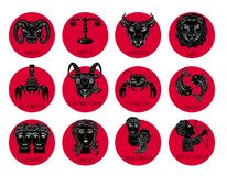 Love horoscope for Valentine`s Day. Set of all zodiac symbols. Vector illustration hand drawing. Black and white on red vector illustration