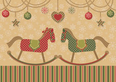 Love horses and christmas garlands. Retro style. Vector illustration Stock Images