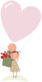 Love in hot-air balloon Royalty Free Stock Image
