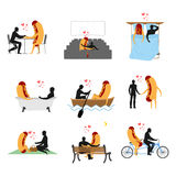 Love for hot dog set. Man and fast food in cinema. Lovers in bat Stock Image