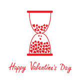 Love hourglass with hearts inside. Happy Valentine Royalty Free Stock Image