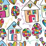 Love house free drawing seamless pattern. This illustration is design and free drawing style with love house, tree and love in seamless pattern on white color Royalty Free Stock Photo