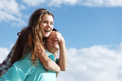 Love hug. Of two lowers Royalty Free Stock Photo