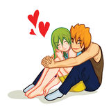 Love hug. Beautiful woman in love hugged by her boyfriend cartoon vector stock illustration