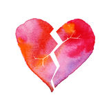Love hurt concept with artistic watercolor broken heart Stock Images
