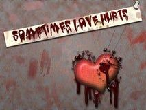 Love hurts. An illustration of a bleeding broken heart Stock Image