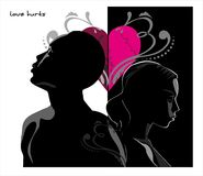 Love hurts. Vector drawing of couple with broken heart and abs Stock Images