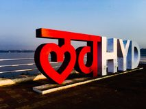Love hyderabad. Is a selfie cum tourist spot located in Hyderabad city , Telangana state .  Located in the heart of the city , engulfing the Hussain sagar lake Stock Photography