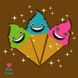 Love Ice Cream Logo on two color ways background Stock Photos