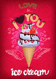 Love is ice cream pink poster with sign Stock Image
