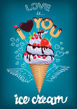Love is ice cream poster with sign Stock Images