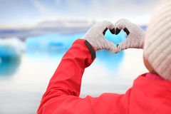 Love for Iceland - hand heart by Jokulsarlon Royalty Free Stock Photos