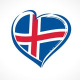 Love Iceland, heart emblem national flag colored. Flag of Iceland with heart shape for Icelandic National Day isolated on white background. Vector illustration stock illustration