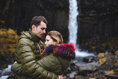 Love and Iceland Waterfall Royalty Free Stock Photo