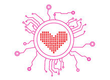 Love Icon Circuit Stock Photo