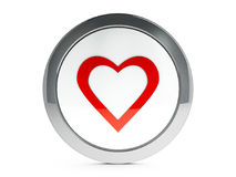 Love icon with highlight. Red heart emblem isolated on white background, three-dimensional rendering Royalty Free Stock Images