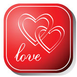 Love icon on a red button. Stock Images