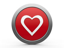 Love icon. Red heart emblem isolated on white background, three-dimensional rendering Stock Photos