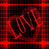 LOVE icon on red neon abstract background with heart at the center. Vector Stock Images