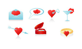 Love icon set. Set of seven icon hearts, valentine, lips, ring Royalty Free Stock Image