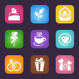 Love icon set. Vector illustration of love icon set on dark background Royalty Free Stock Photography