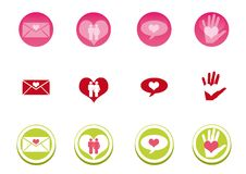Love Icon Set. In three colors Stock Photos