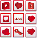 Love icons. Stitched 3d love icons and word Stock Photos