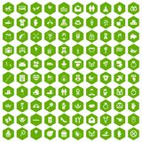 100 love icons hexagon green Royalty Free Stock Image
