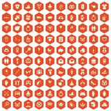 100 love icons hexagon orange. 100 love icons set in orange hexagon isolated vector illustration Stock Photography