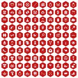 100 love icons hexagon red. 100 love icons set in red hexagon isolated vector illustration Stock Photo