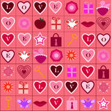 Love icons pattern. Seamless pattern with different love symbols and icons Stock Images