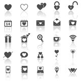 Love icons with reflect on white background Stock Image