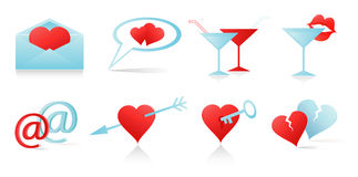 Love icons set. In red and blue colors: Letter, Two Hearts, Broken Hearts, Key, Glasses Royalty Free Stock Photo