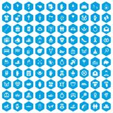 100 love icons set blue. 100 love icons set in blue hexagon isolated vector illustration Royalty Free Stock Photo