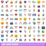 100 love icons set, cartoon style. 100 love icons set. Cartoon illustration of 100 love vector icons isolated on white background Stock Photo