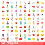 100 love icons set, cartoon style Stock Image